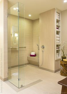 Curbless shower with linear drain for universal design or wheelchair use b/c also has fittings at wheelchair height + stool if you need someone to help you bathe.  The open shelving on the side is also accessible by everyone without looking handicap accessible - just awesome design.  By Libertas Interior Design Solutions - Portfolio