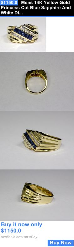 Men Jewelry: Mens 14K Yellow Gold Princess Cut Blue Sapphire And White Diamond Ring Size 7.25 BUY IT NOW ONLY: $1150.0