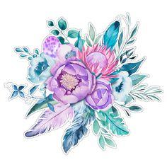 Boho flowers illustration for cutting / Цветочные бохо иллюстрации для вырезания
