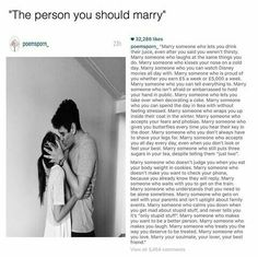 The person that you should marry