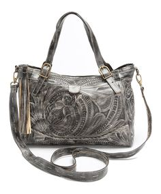 Another great find on #zulily! Slate Leather Embossed Satchel by Leaders in Leather #zulilyfinds