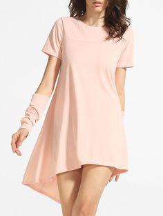 Image of Asymmetrical Hems Crew Neck Cotton Plain Shift Dress