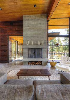Modern log cabin-living room fireplace