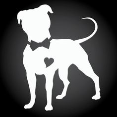 Pittie Chicks Bow Tie Pit Bull White Vinyl Sticker by PittieChicks, $5.00