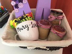 Homemade Gift Basket Idea ❤️ •Personalized Mug •Her favorite Candy •3 homemade…