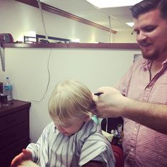 My little brew buddy got his first #haircut complements of @pricethebarber #Lakeland #swanbrewing #futurebrewmaster