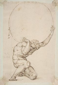 "Art Department - Crouching Figure of Atlas Baldassare Tommaso Peruzzi (Italian, Ancaiano Rome); On verso, annotated in pen and brown ink, by the hand usually identified with the ""Borghese Sagredo"" album (Zaccaria Sagredo? Inspiration Art, Art Inspo, Art Sketches, Art Drawings, Renaissance Kunst, Portrait Renaissance, Schrift Tattoos, Arte Horror, Art Graphique"
