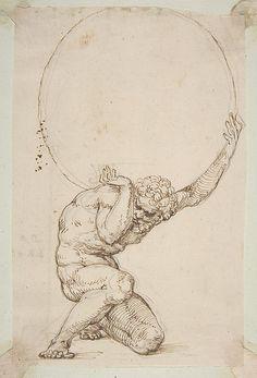Crouching Figure of Atlas Baldassare Tommaso Peruzzi (Italian, Ancaiano 1481–1536 Rome)