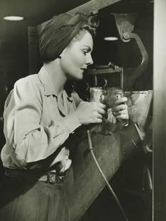 Vintage Hairstyles Photographic Print: Woman Working With Electric Drill in Factory by George Marks : - Look Vintage, Vintage Beauty, Vintage Photos, Women's Dresses, Levis, By Any Means Necessary, Rosie The Riveter, 1940s Fashion, Fashion Top