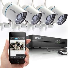 Zmodo 4CH 720P PoE NVR HD Security Camera System with 4 Indoor/ Outdoor Night Vision 720P Security Cameras 1TB HDD Smartphone Scan QR Code Quick Remote Access Zmodo