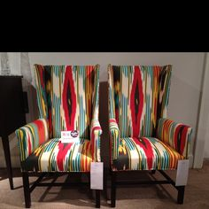 Jamie Meares, April 2012 - Great colors at Hickory Chair - very Oscar de la Renta. Would be striking flanking a console in an entryway. Floor Design, House Design, Wing Chairs, Wingback Chairs, Fireplace Seating, Hickory Chair, Colored Ceiling, My Living Room, Bold Colors