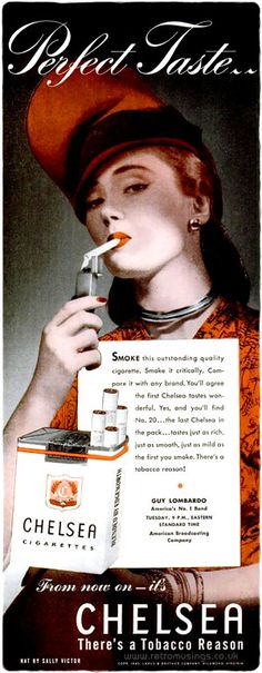 """""""From now on – it's Chelsea!""""  These ads for Chelsea cigarettes date from 1945-46."""