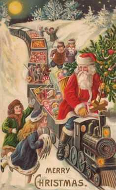 ctmn-bba-Santa surrounded by children while driving a train full of toys.