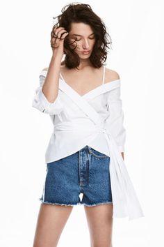 Wrapover cotton blouse - White - Ladies | H&M CN 1