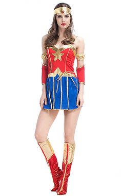 Halloween Marvel Movie Superman Cosplay Superwoman Size: M Bust 86cm,Waist 72cm,Dress Length 62cm L Bust 88cm,Waist 76cm,Dress Length 63cm XL Bust 92cm,Waist 78cm,Dress Length 64cm XXL Bust 96cm,Waist 90cm,Dress Length 65cm Material: Polyester,Bronzing Wash Gently On The Opposite Side, Do Not Wash With Hot Water, Hang To Dry Wash Clothes By Color Separation To Avoid Dyeing This Costume Includes :Dress,Headwear,Hand Ring, Foot Cover, Bracelet