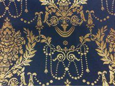 Элитная ткань из атласа с вышивкой из Франции 2377/40. Европа, Франция, портьерная ткань для штор. Тёмно-синий фон, золотистый орнамент купить