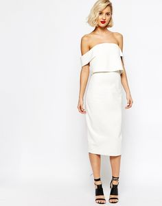 Lavish Alice Off Shoulder Bandeau Insert Sleeve Cropped Midi Dress - this is a totally different vibe but I am digging it. Reminds me of Sarah Nicole Prickett's wedding dress