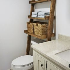 Check out this project on RYOBI Nation - This beautiful wood leaning ladder shelf designed to fit over the toilet is perfect for adding storage without having to drill holes in the wall.  It's easy to make with off the shelf lumber and just a few basic power tools.  Add that farmhouse look to your bath in just a couple of hours.