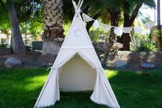 Ready to ship Vintage kids teepee with pompom fringe/canvas Play tent / Tipi Wigwam or Playhouse with poles and Door Ties Bamboo Poles, Wooden Poles, Indoor Tents, Kids Teepee Tent, Cozy Place, Panel Doors, Front Doors, Signature Design, Floor Mats
