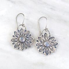 Large Moonstone Flower Earrings Flower Earrings, Drop Earrings, Isis Goddess, Shepherds Hook, Silver Flowers, Hand Stamped, Birthstones, Delicate, Pearls