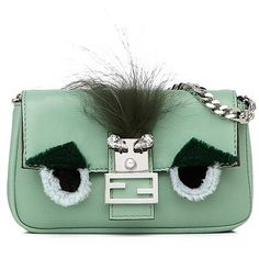 Fendi Micro Leather, Mink Fur & Fox Fur Buggie Baguette ($1,550) ❤ liked on Polyvore featuring bags, handbags, shoulder bags, apparel & accessories, water green, leather shoulder handbags, man bag, green leather handbag, leather handbags and leather man bags