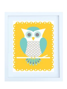 grey teal and yellow nursery....print