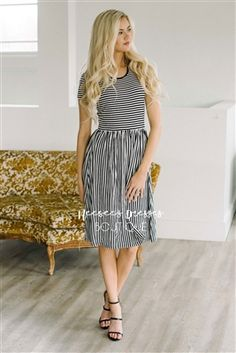 Black White Stripes Spring Modest Church Dress, Church Dresses, dresses for church, modest bridesmaids dresses, trendy modest dresses, modest womens clothing, affordable boutique dresses, cute modest dresses, mikarose, best church dresses