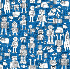 Medium Robo Space Custom Curtain Panel by Spoonflower On Grey Robots Curtain Panel Small by cecca Robots In Space