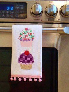 Cupcake tea towel