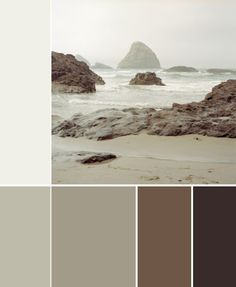 taupe and brown - color palette to trail in the  living room. Think about the new table colour.
