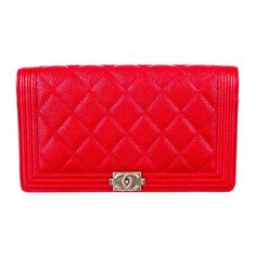 Chanel Boy Wallet ($850) ❤ liked on Polyvore featuring bags, wallets, clutches, chanel, bolsas, handbags, quilted leather bag, red wallet, chanel bags and chanel wallet