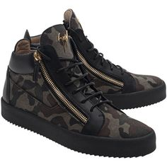 GIUSEPPE ZANOTTI May London Jeep Caky // Mid leather textile blend... ($600) ❤ liked on Polyvore featuring men's fashion, men's shoes, men's sneakers, mens camo shoes, giuseppe zanotti mens sneakers, mens leather sneakers, mens camo sneakers and mens leather shoes