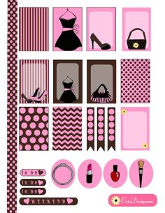 Free Printable Fashion themed stickers for Erin Condren and Happy Planner