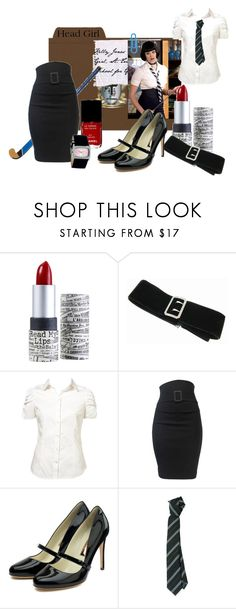 """Head Girl - Kelly Jones"" by semper-eadem ❤ liked on Polyvore featuring TheBalm, Lucie Campbell, Rupert Sanderson, COSTUME NATIONAL, Chanel, CO, head girl, kelly jones, school uniforms and st. trinian's"