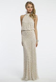Camille La Vie Blouson Prom Dress with Keyhole Back