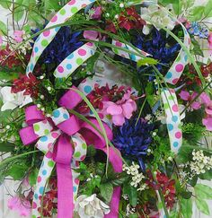 XXL Colorful Spring and Summer Door Wreath with lots of flowers and ribbons by LadybugWreaths, $249.97