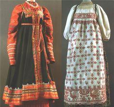 Left: Ceremony, Smolensk Province., Yartsevskiy y., Kon.19-nach.20v. - A shirt, a dress, a belt  Right: Ceremony, Vologda Province., 2 pol.19v. - A shirt, a dress, apron, pectoral