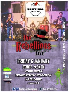 The Rebellions @ Central, - Κέρκυρα Central Cafe, Pop Rocks, Reggae, Live, Movie Posters, Film Poster, Film Posters, Poster