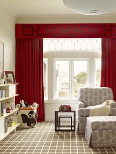 Fantastic nursery design with red cornice box with matching red curtains. Trendy Bedroom, Kids Bedroom, Master Bedroom, Kids Rooms, Master Suite, Window Coverings, Window Treatments, Bedroom Window Dressing, Bedroom Windows