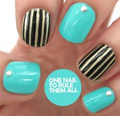One Nail To Rule Them All: Stripes and baby blue