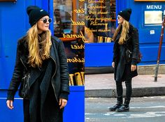Get this look: http://lb.nu/look/8557437  More looks by Mina T: http://lb.nu/minamour  Items in this look:  Cheap Monday Beanie, Diesel Boots, Diesel Coated Denim, Zara Bag, Diesel Knit Cardigan, Promod Shearling Jacket, Wonderland  Sunglasses   #casual #grunge #street