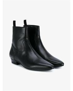 SAINT LAURENT Devon Leather Ankle Boots. #saintlaurent #shoes #boots