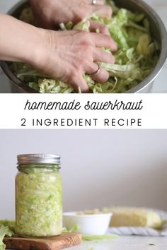 Learn how to make delicious fermented vegetables with this simple 2 ingredient sauerkraut recipe. Incorporating sauerkraut into your daily routine can promote healthy gut flora and overall wellness. Care Skin Condition and Treatment Oil Makeup Fermented Sauerkraut, Homemade Sauerkraut, Fermented Cabbage, Sauerkraut Recipes, Cabbage Recipes, Jalapeno Recipes, Recipe To Make Sauerkraut, Fermentation Recipes, Canning Recipes