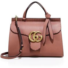 Gucci GG Marmont Leather Top-Handle Bag (31.003.990 IDR) ❤ liked on Polyvore featuring bags, handbags, apparel & accessories, zipper handbag, zip purse, real leather handbags, genuine leather purse and gucci bags