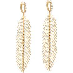 Sidney Garber Women's Flexible Feather Earrings found on Polyvore featuring jewelry, earrings, drop hoop earrings, drop earrings, 18k earrings, pave diamond drop earrings and pave jewelry