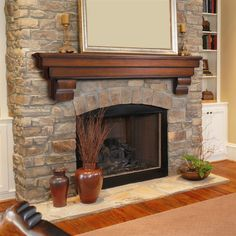 Simple Fireplace Makeover For Winter Ideas - Fireplace Decor Stone Fireplace Mantles, Stone Fireplace Makeover, Stone Fireplace Surround, Simple Fireplace, Rustic Fireplaces, Home Fireplace, Fireplace Remodel, Fireplace Ideas, Mantle Ideas