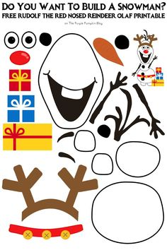 Do You Want To Build A Snowman - Free Printable - Rudolf the Red-Nosed Reindeer Olaf Edition Preschool Christmas, Christmas Activities, Christmas Crafts For Kids, Christmas Printables, Preschool Crafts, Winter Christmas, Christmas Themes, Kids Christmas, Preschool Activities