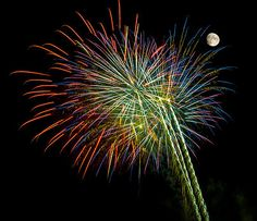 Penny Lisowski - Explosions of Color - Fireworks and Moon