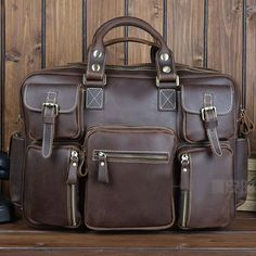 Leather Family — Best Gift Crazy Horse Leather Briefcase Laptop Bag Dispatch Shoulder Huge Duffle-FREE SHIPPING