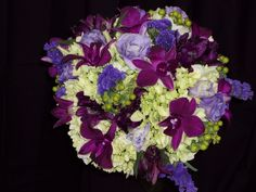 purple and green wedding bouquet.